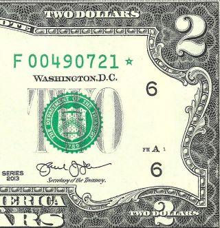 2013 $2 Star Atlanta Gem Uncirculated Only 640k Us Paper Money 1of2 photo