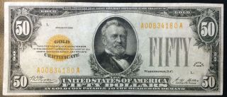 $50 Gold Seal Certificate Fifty Dollar Bill 1928 Woods Mellon Small Note (2246) photo
