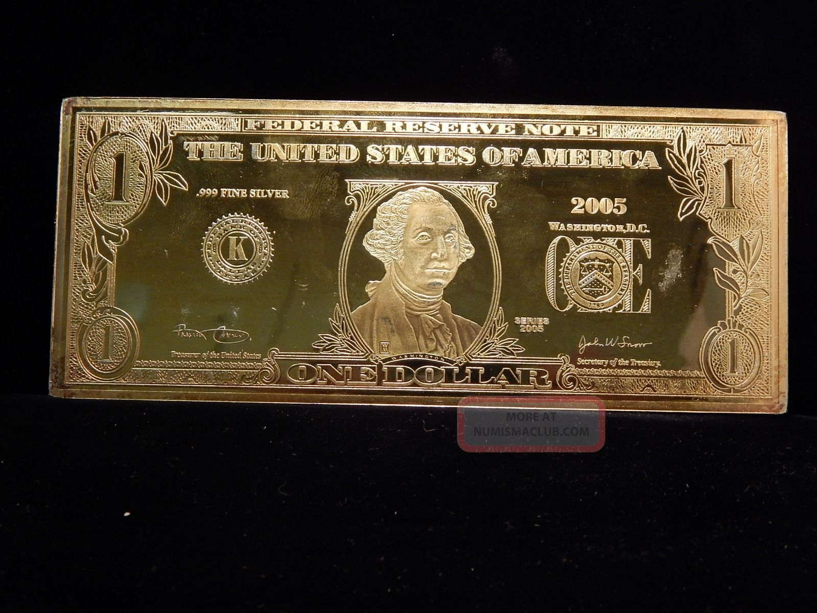 2005 Silver 1 One Dollar Federal Reserve Note 4 Troy Oz