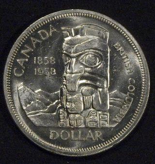 1958 Canada Silver Dollar Bu - British Columbia (b) photo