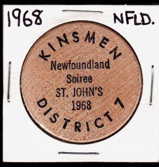 1968 Kinsmen Club Soiree St.  John ' S,  Newfoundland Beer Token photo