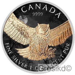 Canada 2015 $5 Great Horned Owl 1 Oz Silver Color Birds Of Prey Mintage 100 V2 photo