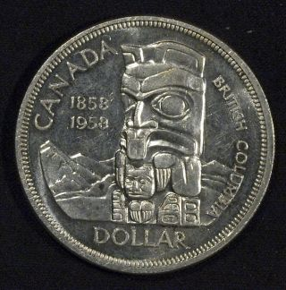 1958 Canada Silver Dollar Bu - British Columbia (a) photo