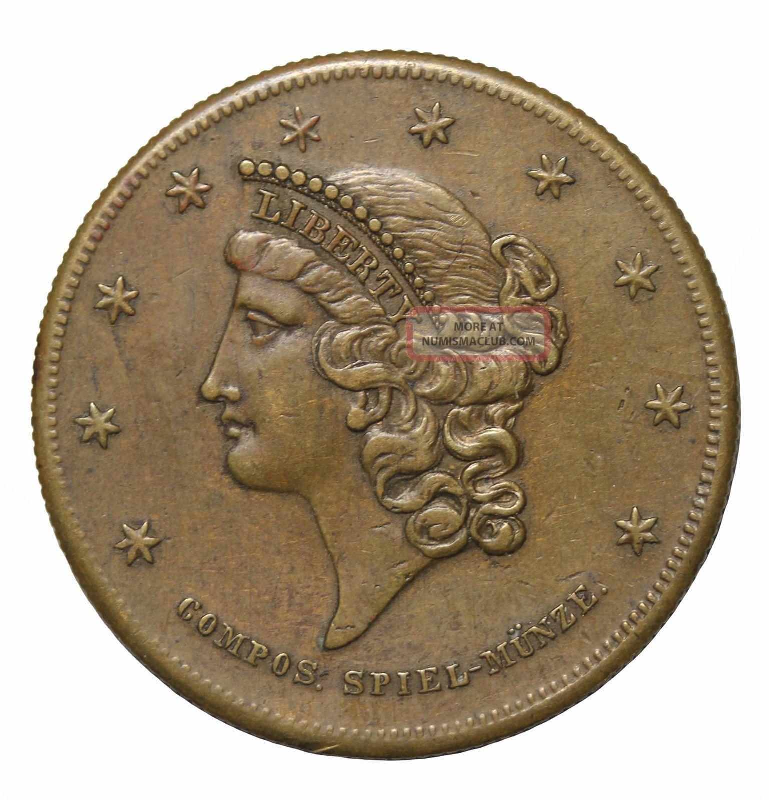 1850s Liberty $20 Gold Style In Unitate Fortitudo Spiel Marke Game Counter Token Exonumia photo