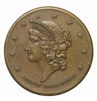 1850s Liberty $20 Gold Style In Unitate Fortitudo Spiel Marke Game Counter Token photo