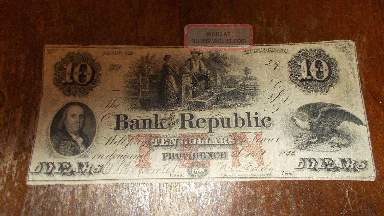 Bank Of The Republic $10.  00 Providence,  R.  I. Stocks & Bonds, Scripophily photo