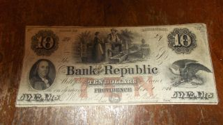 Bank Of The Republic $10.  00 Providence,  R.  I. photo
