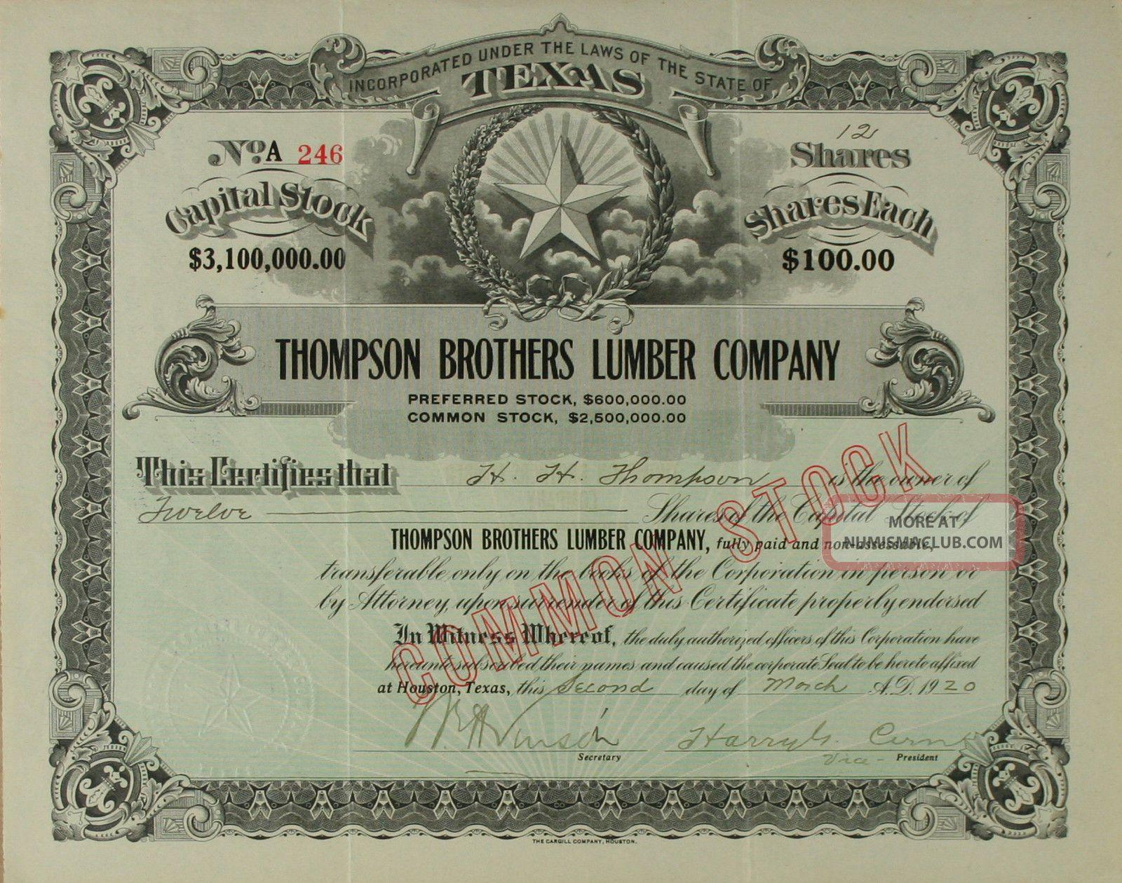 S968 Thompson Brothers Lumber Company Texas 1920s Stock Certificate Black Stocks & Bonds, Scripophily photo