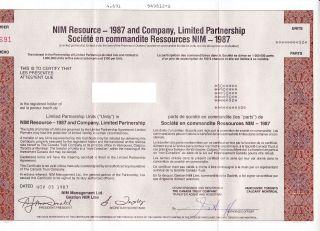 Nim Mining Resources Lp Certificates (4) 1980s photo