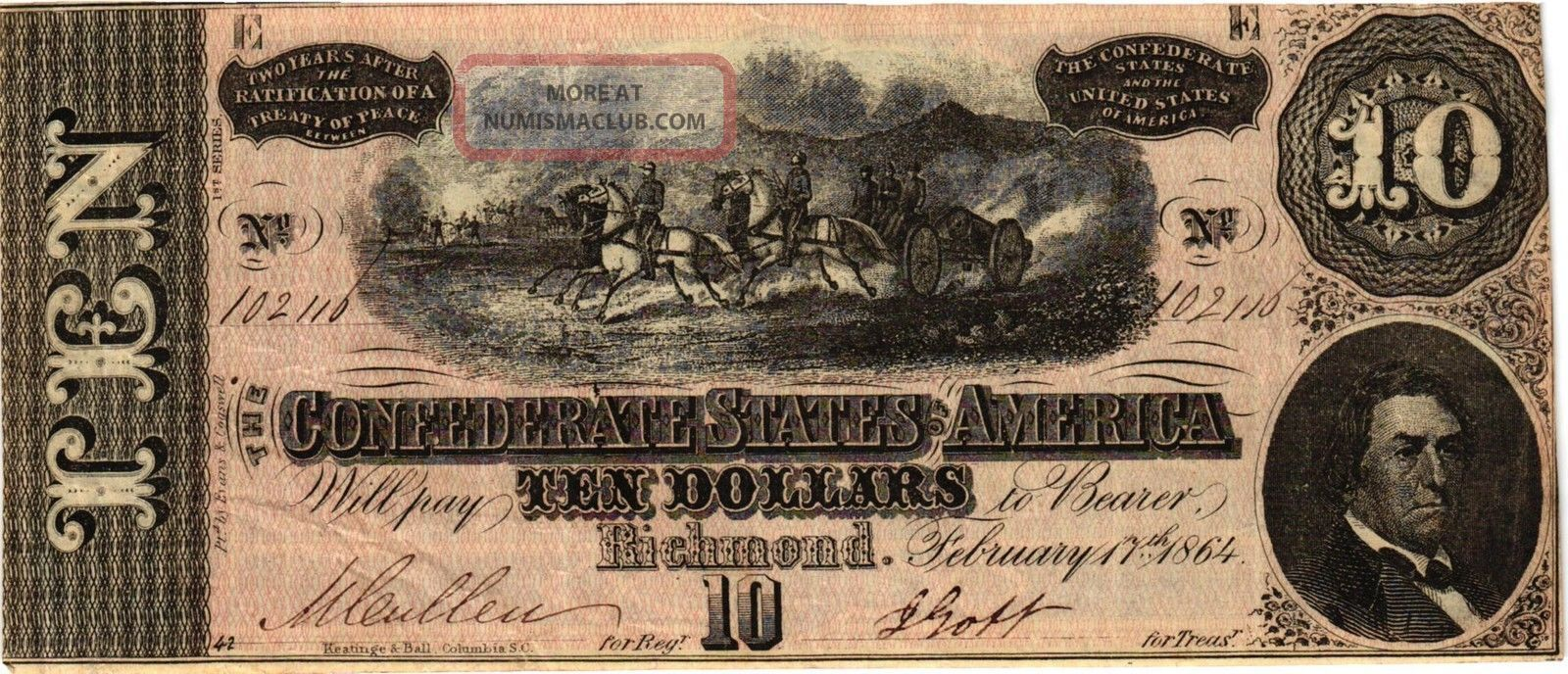 Authentic T68 Csa Note 1864 $10 Horses Pull Cannon Paper Money: US photo