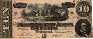 Authentic T68 Csa Note 1864 $10 Horses Pull Cannon photo