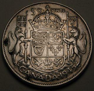 Canada 50 Cents 1945 - Silver - George Vi.  - Vf 874 photo