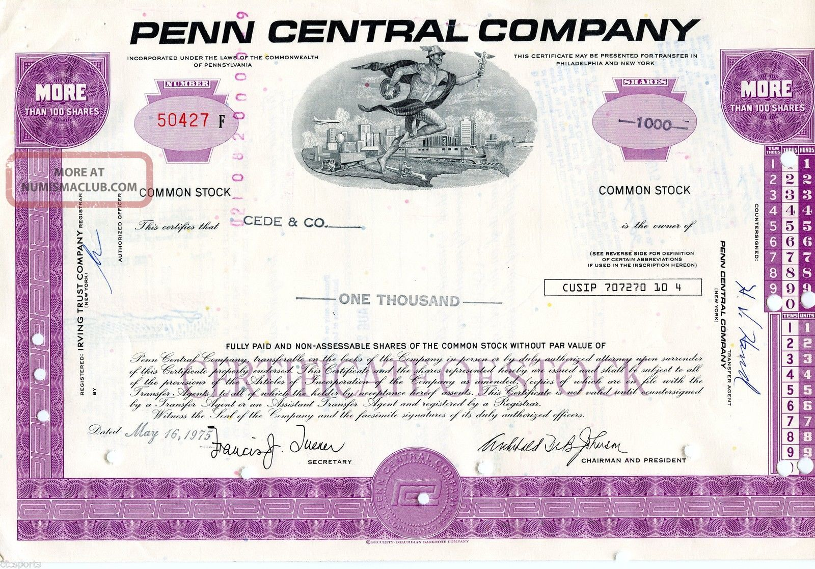 Penn Central Company (1,  000 Shares) 1975 Stock Cancelled Certificate Stocks & Bonds, Scripophily photo