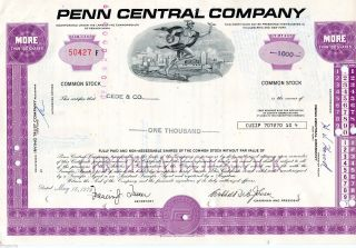 Penn Central Company (1,  000 Shares) 1975 Stock Cancelled Certificate photo