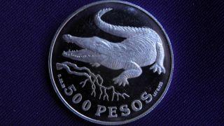 1978 Colombia 500 Pesos Crocodile Silver Proof Coin photo