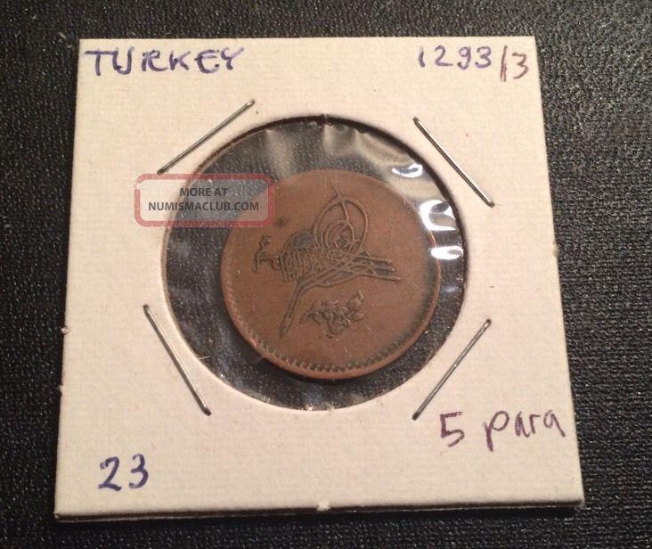 1878 (ah 1293/3) Ottoman Turkey 5 Para Coin Abdul Hamid Ii World Europe photo