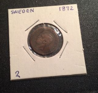 Sweden 1872 1 Ore Ruler Carl Iv Bronze Coin photo