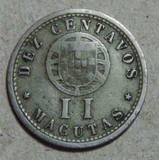Angola Ii Macutas 1928 Nickel 10 Centavos Km 67 photo