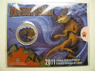 2011 Sp 25 Cents Mythical Creatures 3 - Mishepishu Canada Twenty - Five Quarter photo