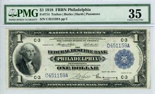 1918 Fr.  714 $1 U.  S.  (philadelphia,  Pa) Federal Reserve Bank Note - Pmg Ch.  Vf 35 photo