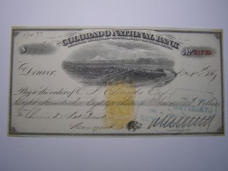 Bank Check - Colorado National Bank - 1867 - Chemical Nat.  Bank N.  Y.  Rev.  B1 photo