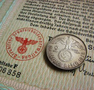 500 Reichsmark - Pre - War Nazi Era Reichsmark War Bond Wwii Swastika (cv: $59.  95) photo