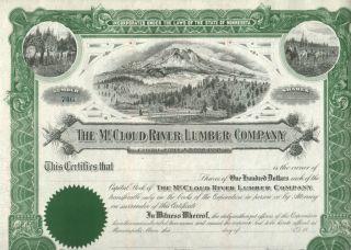 Xxx - Rare Mccloud River California Lumber Stock Read History Cv $100 Our Exclus photo