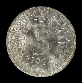 1972 - J Germany 5 Mark Silver Coin,  Km 112.  1 photo
