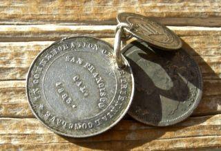 1883 San Francisco California Triennial Conclave Medal Fob W/ 1831 Dime 1862 3c photo
