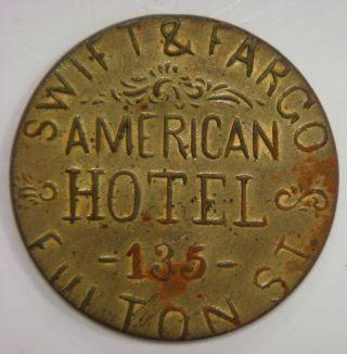 Swift & Fargo,  American Hotel,  1/6 (one Shilling/sixpence) British Denomination photo