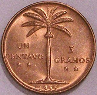 Dominican Republic 1955 1 Centavo Scarce Date / Grade - - - Choice B U - - - photo