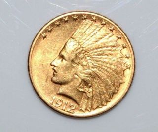 $10 1912 - S Indian Head Gold Eagle Ten Dollar Saf184 photo