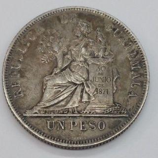 1896.  900 Silver Un 1 Peso Guatemala photo