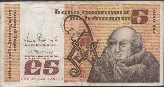 Ireland 5 Pound 12.  03.  1993 P 71e Prefix Ceg Circulated Banknote photo