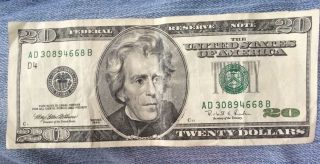 1996 Series $20 Dollar Us Note,  S Ad 30894668 B photo
