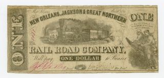 1861 $1 Orleans,  Jackson & Great Northern Rail Road Co.  - Louisiana Note photo