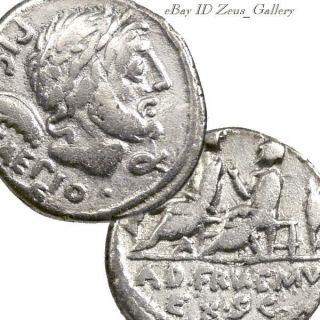 Saturn / Quaestors On Bench Ancient Roman Silver Denarius Coin 100bc Calpurnia 5 photo