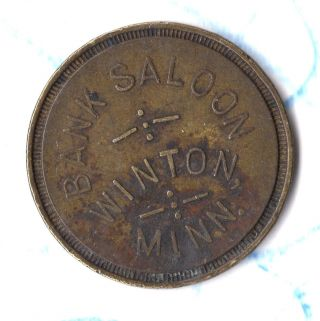 Vintage St Paul Mn Trade Token Bank Saloon Winton Minn Good For 25¢ In Trade B photo