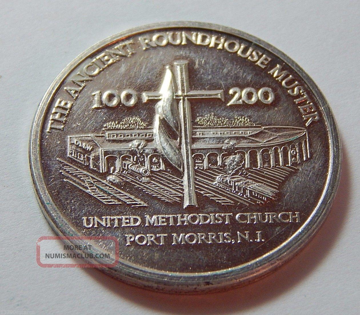 1976 Silver Port Morris Nj United Methodist Church Ancient Roundhouse Token Exonumia photo