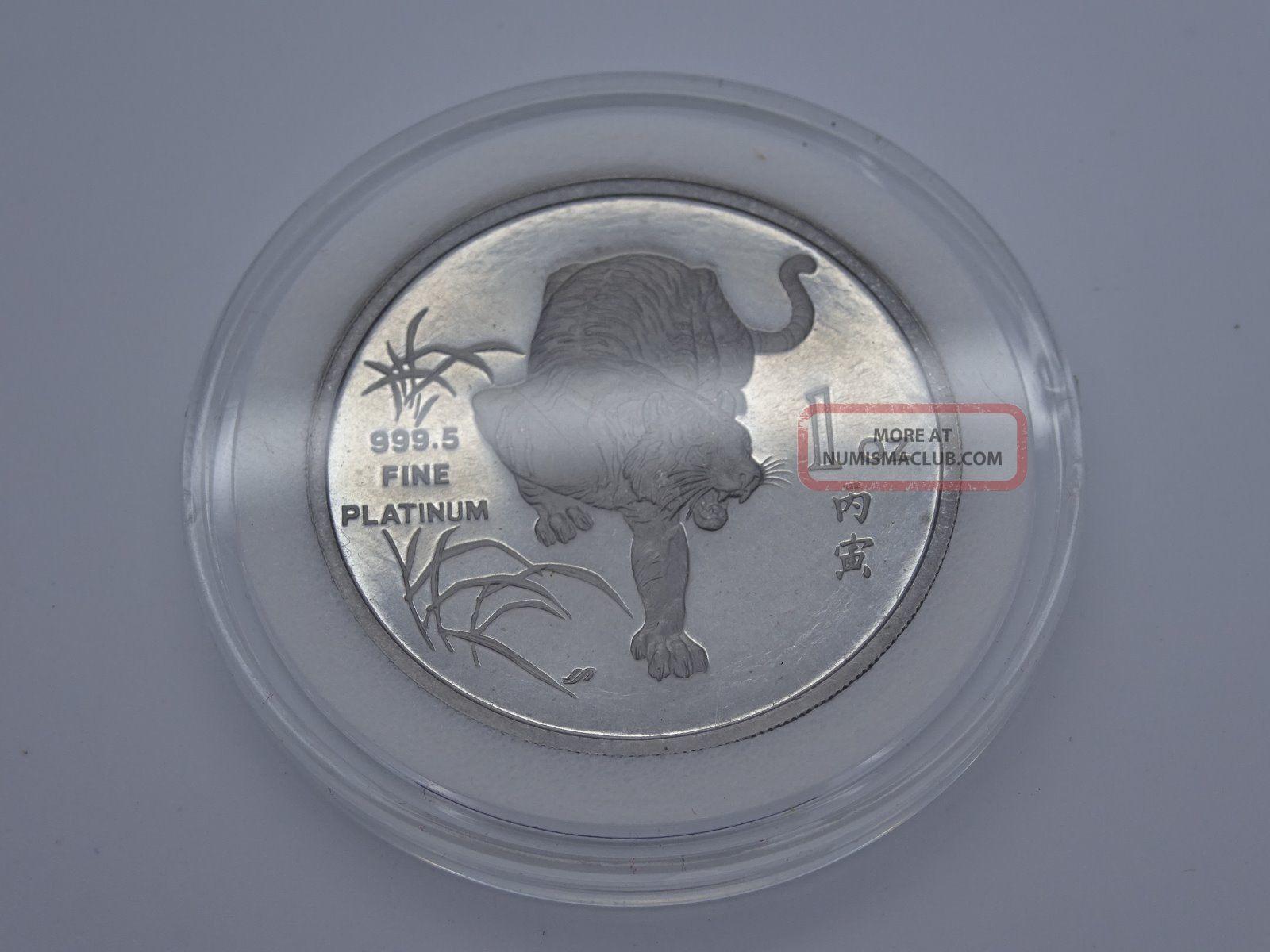 1986 Singapore 1 Oz.  Platinum Tiger Coins: World photo