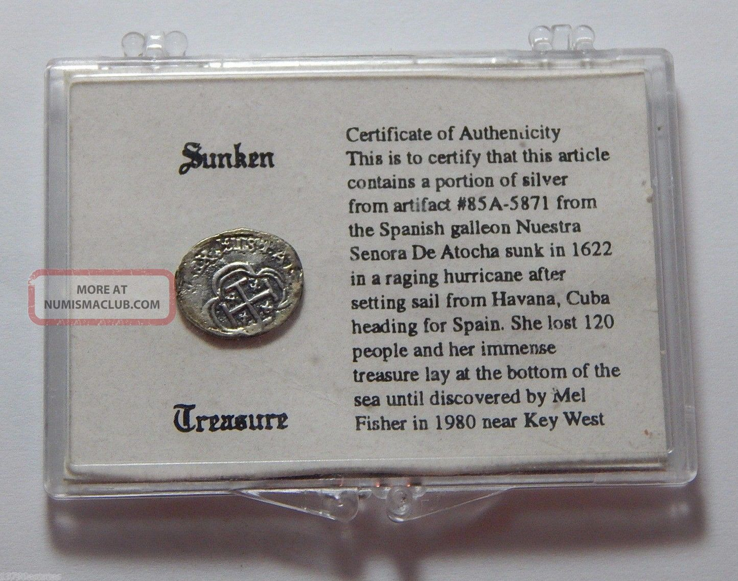 1622 Shipwreck Silver Token Recovered From Ship Nuestra Senora De Atocha Coins: World photo