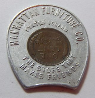 1954 - D Encased Lincoln Wheat Cent - Manhattan Furniture Co Staten Island Ny photo