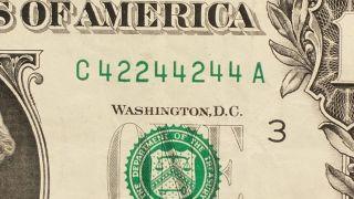 2013 $1 Dollar Binary Fancy Serial C 4 2 2 4 4 2 4 4 A - Circulated Banknote photo