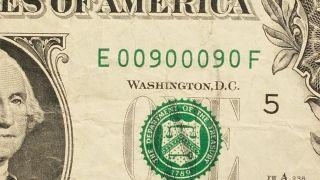 2009 $1 Dollar Binary Fancy Serial E 0 0 9 0 0 0 9 0 F - Circulated Banknote photo