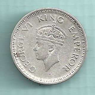 British India - 1944 - King George Vi Emperor - 1/4 Rupee - Rare Silver Coin photo