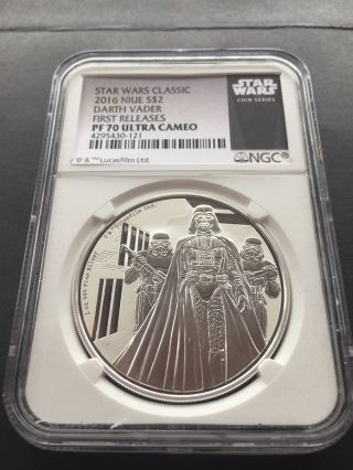2016 Niue Silver $2 - Star Wars Classic - Darth Vader Ngc Pf70 Uc First Release photo