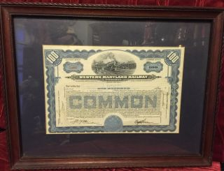 Framed Vintage $100 Stock Certificate,  Western Maryland Railway Company,  1952 photo