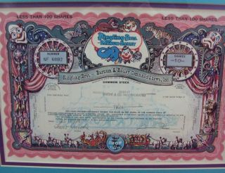 Vintage 1970 Ringling Brothers Barnum Bailey Circus Stock Certificate 10 Shares photo