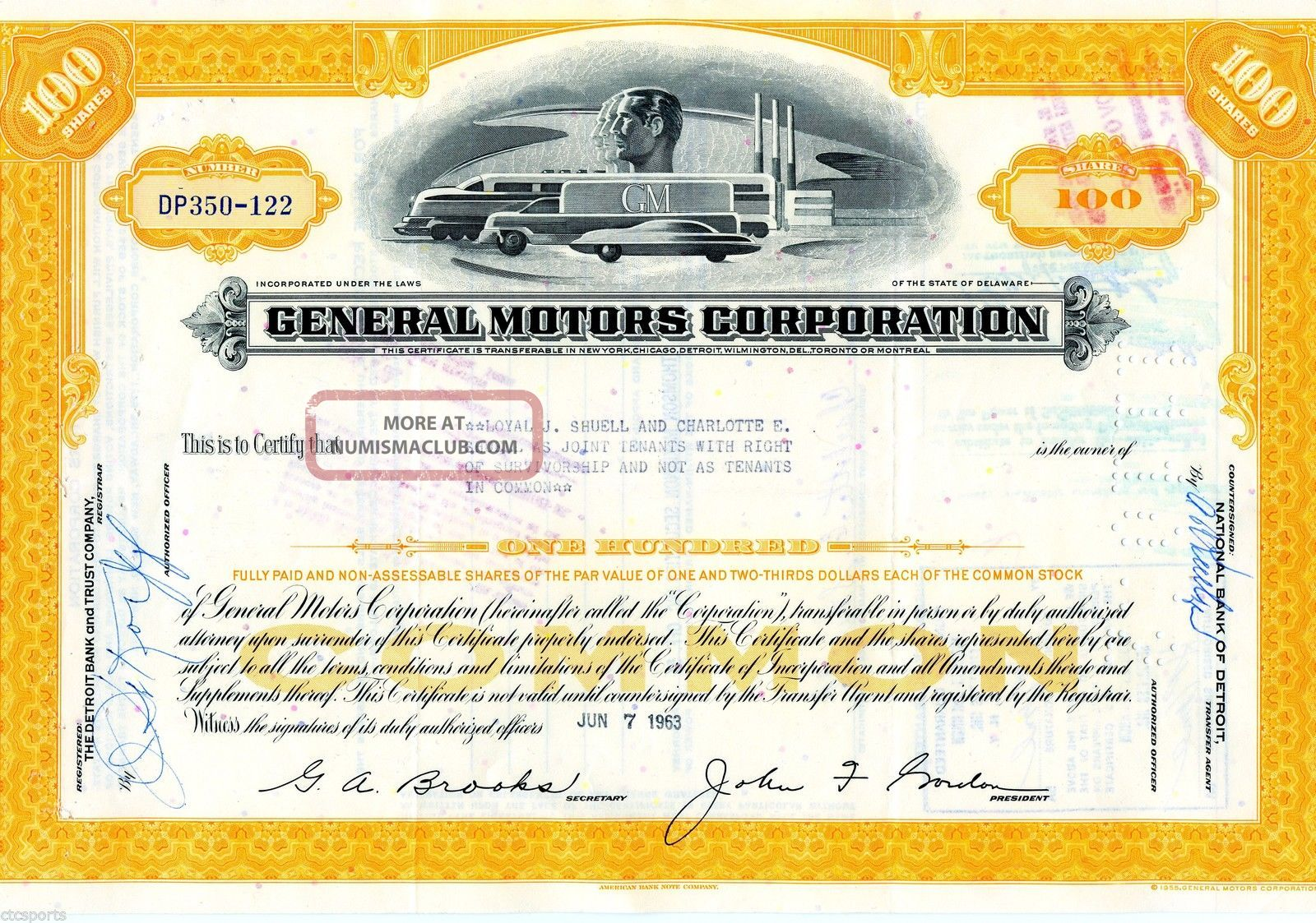 General Motors Corporation (100 Shares) 1963 Stock Cancelled Certificate Stocks & Bonds, Scripophily photo