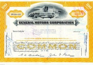 General Motors Corporation (100 Shares) 1963 Stock Cancelled Certificate photo